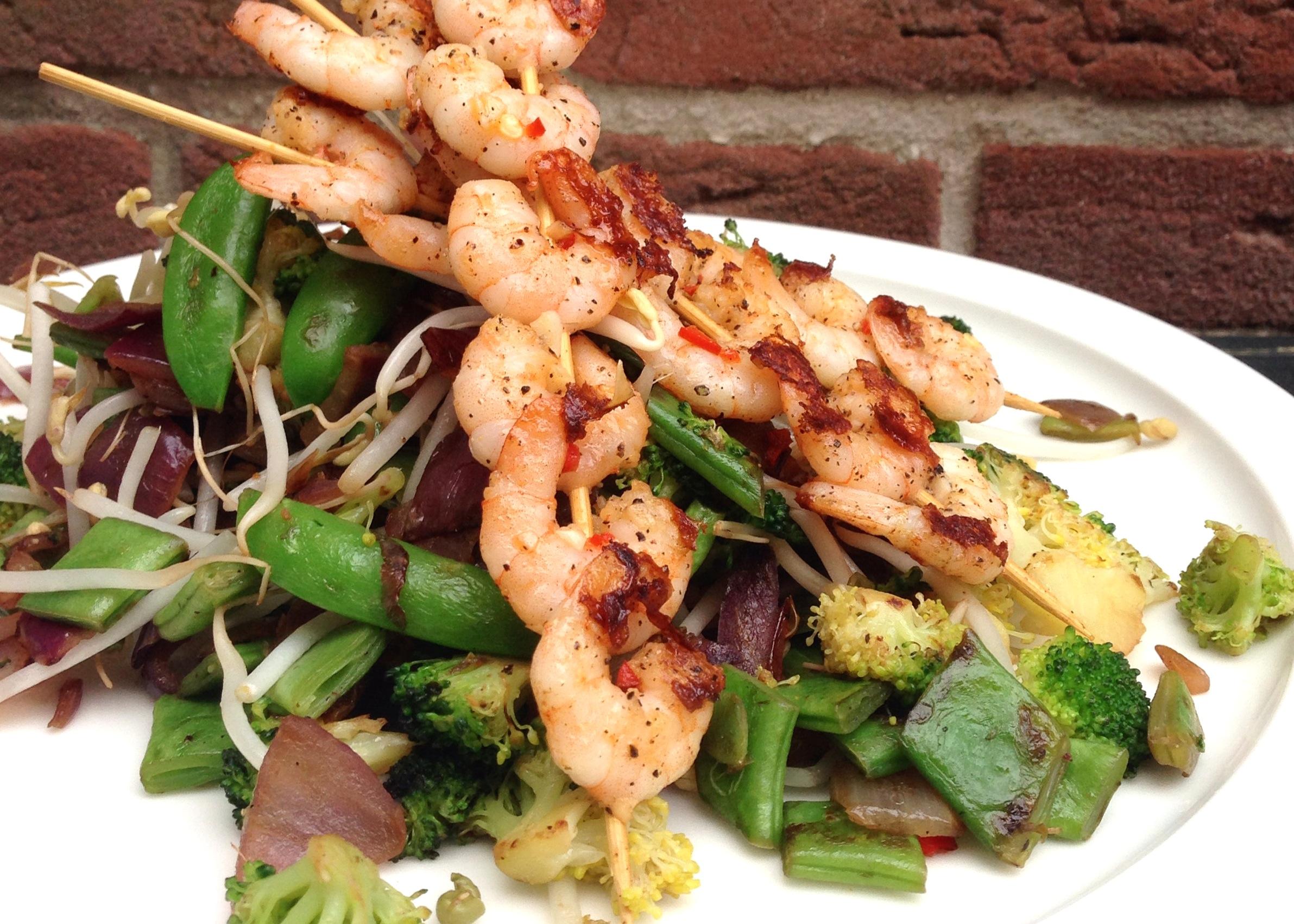 Roerbak groenten met pittige garnalen EEFSFOOD