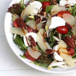 Salade met geitenkaas en warme peer EEFSFOOD