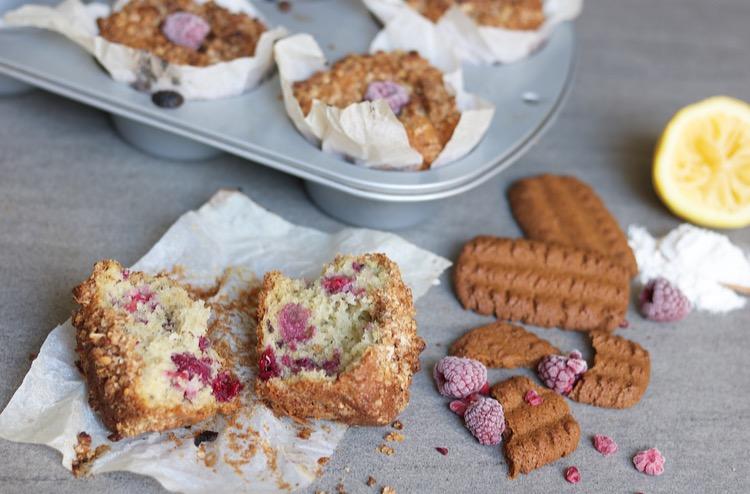 Frambozen muffins met bastogne-amandel topping
