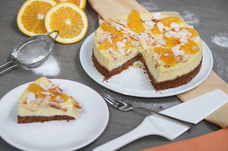 Sinaasappel cheesecake met kruidnotenbodem