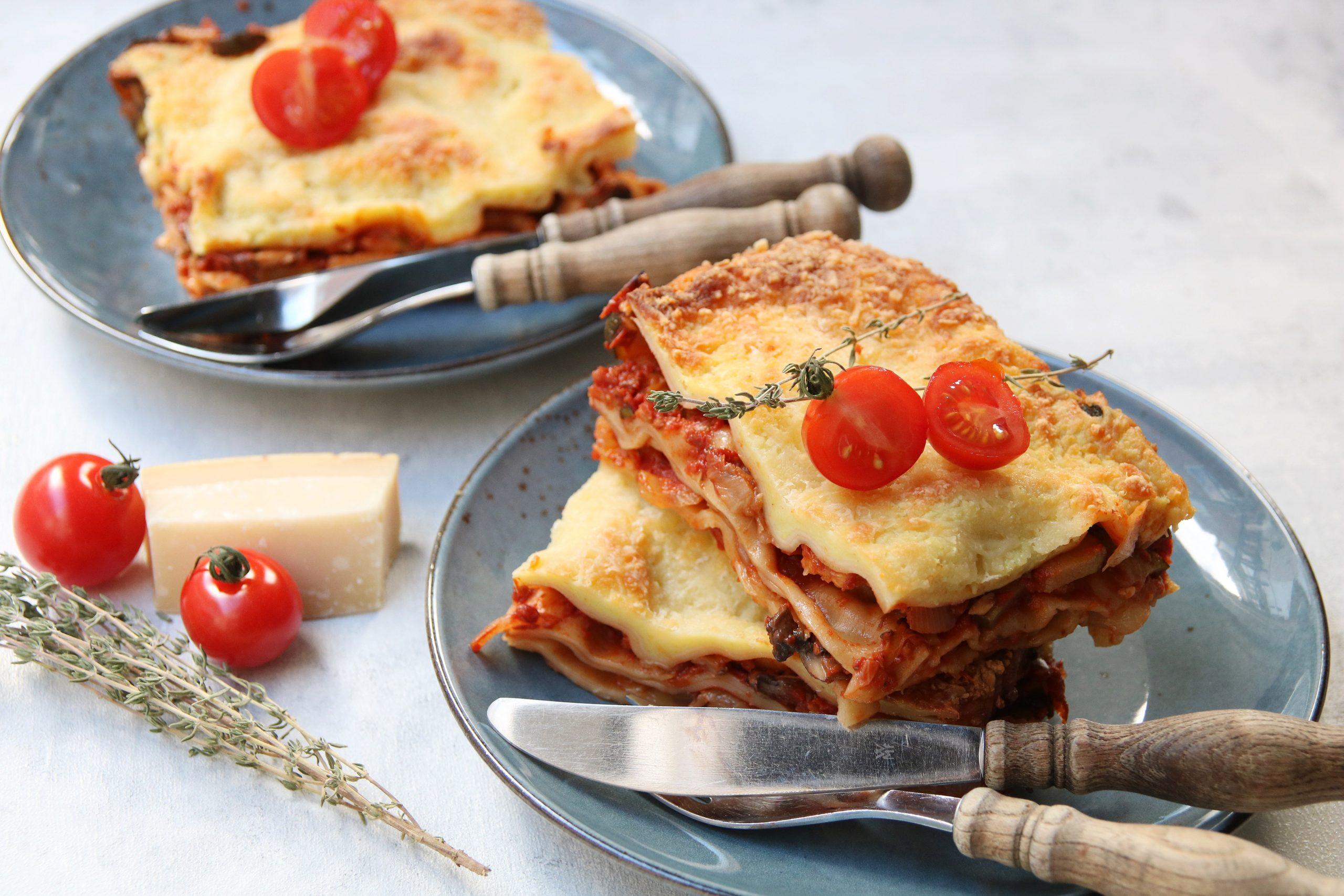 Vegetarische lasagne met 4 soorten groente
