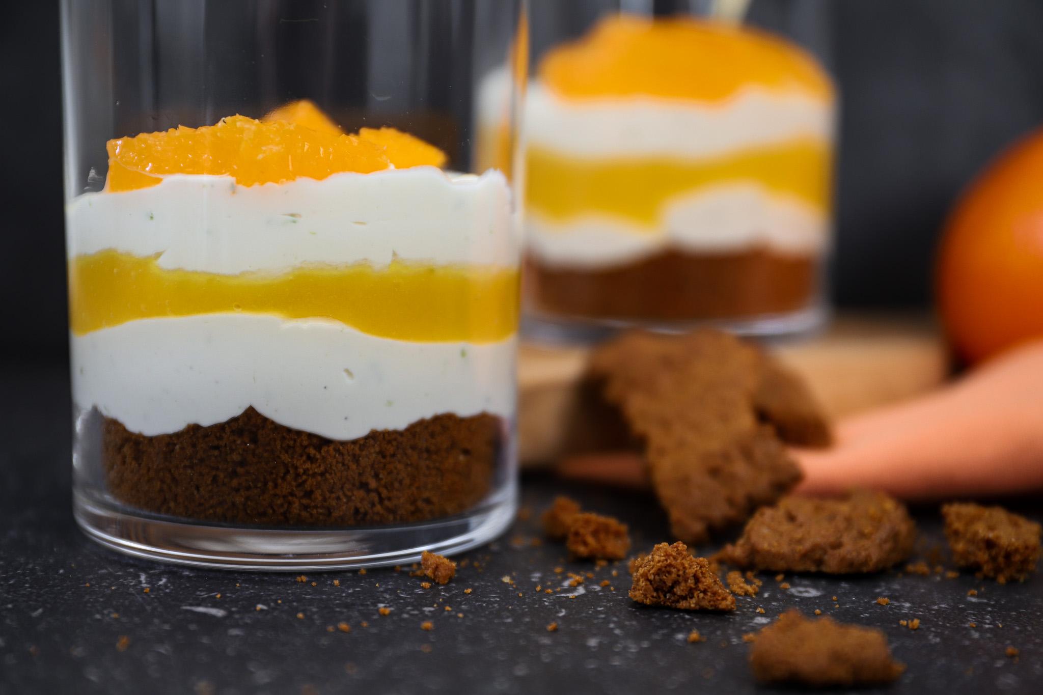 Sinaasappel cheesecake glaasjes met mango