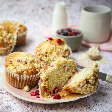 Frambozen kruimel muffins met limoen